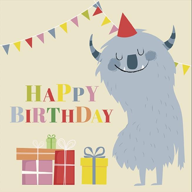 Geburtstagskarte Monster Geschenke Partyhutchen Karte Kind