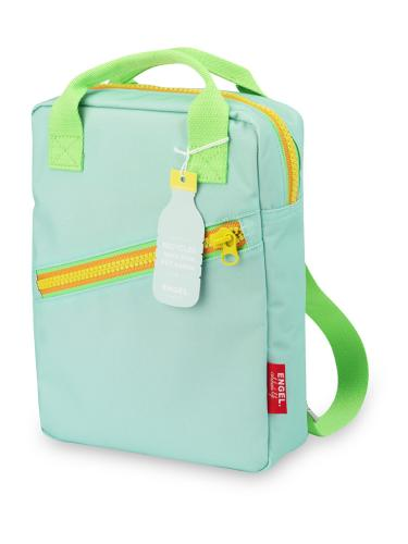 Kinderrucksack ENGELpunt small Zipper hellblau frontal bei your little kingdom